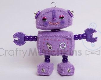 Cute Purple Plush Felt Robot