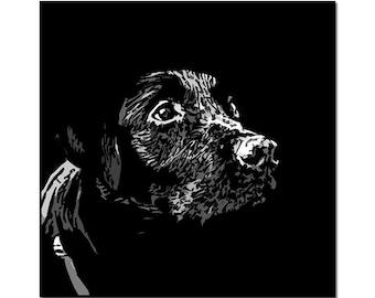 Custom pet portrait - Black and White dog portrait - digital