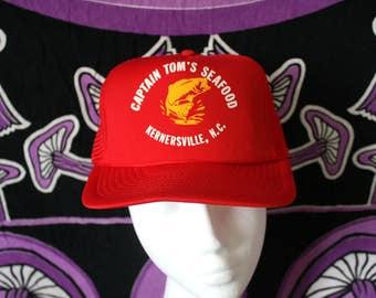 Captain Tom's Seafood Red Trucker Cap. Red 80s Retro Mesh Snapback Hat.  Vintage Baseball Cap.  Bright Red Seafood Restaurant Trucker Cap