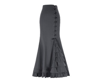 CHARCOAL Stretch Victorian Steampunk Flamenco Skirt//Corset Style Fishtail Mermaid Maxi Skirt//Ruffled Long Skirt//2 Colors, Sizes S-XL