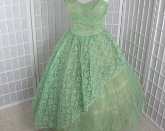 1950s Green Lace & Tulle Strapless Dress...... Bolero Wrap.......  size  Medium