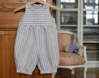 Baby romper Baby boy linen romper Toddler boy long Overall Baby long romper Baby boy clothes 1st birthday outfit Baby jumpsuit White striped