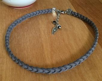 Convertible bracelet - Versatile - charcoal - braided Choker - versatile - the era of jewelry - fabric sheet.