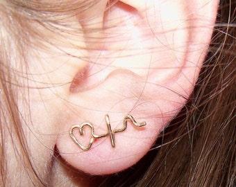Heartbeat Earrings in Sterling Silver or 14k Gold Filled 20 gauge Studs