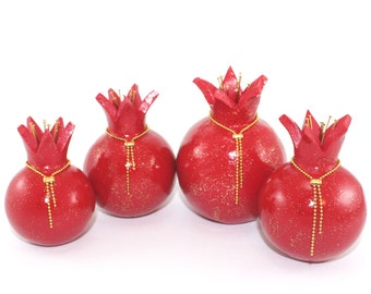 Sale Rosh Hashana Pomegranate home decor, set of 4, prosperity for holiday wedding, centerpiece, Handmade Red Polymer clay w gold dots+chain