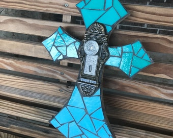 Turquoise cross, mosaic stained glass cross with door knob,mosaic wall hanging,decorative cross