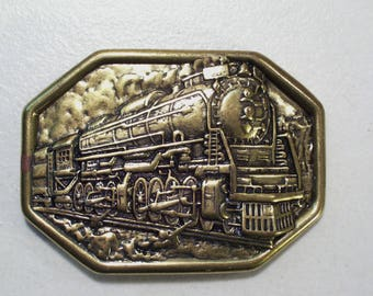 Vintage Avon Brass Locomotive Steam Engine Train Belt Buckle