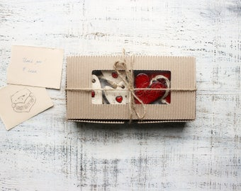 Gift box set of 6 rustic red heart ornaments cottage chic white baby shower boho Valentines day Mother's Day gift Baptism Christmas tree