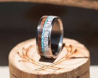 Mens Wedding Band Antler, Wood and Turquoise Ring - Staghead Designs