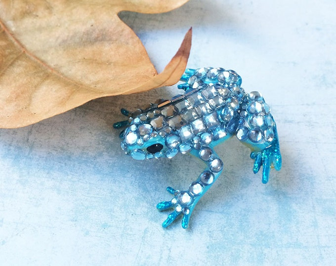 Frog brooch - recycled rubber frog - statement brooch - fantasy - rhinestones