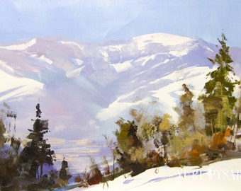 Winter in mountains painting, Landscape art oil original, Forest painting, Plein air artwork