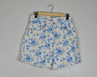 Vintage Blue Floral Bill Blass Shorts, Vintage High Waisted Shorts