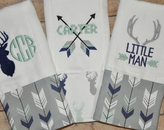 Baby Boy Deer / Arrow  set of (3) Monogram Burp Rags