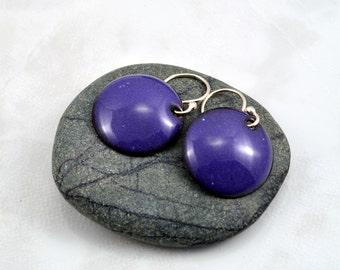 Round Domed Purple Enamel Earrings