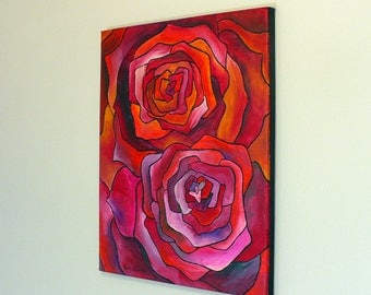 original acrylic painting, abstract painting, red art, pink art, flower painting, colorful painting, 11x14 art, flowers, small painting