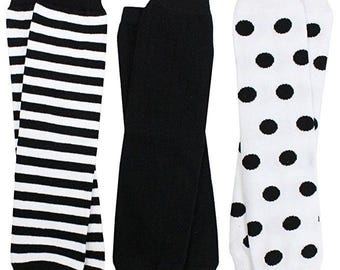 Children's Leg Warmers in Black and White