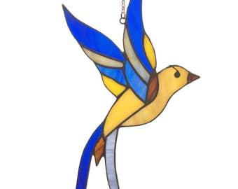 Stained glass bird - tiffany glass bird. A stained glass suncatcher. Blue bird of happiness. Blue bird ornament.