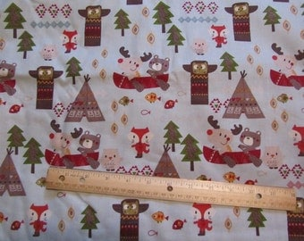 Multicolor Woodland Animal/Tribal Cotton Fabric by the Yard