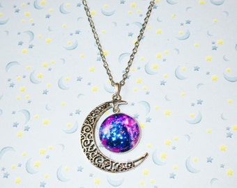 Crescent Moon Galaxy Chain Necklace, Silver Moon & Outer Space Charm Necklace