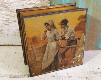 Romantic Edwardian Era Antique Tin Box, Courting Couple Harvest Scene Autumn Colors, Rare c 1910 Vintage Biscuit Tin, Christies Hudson Scott