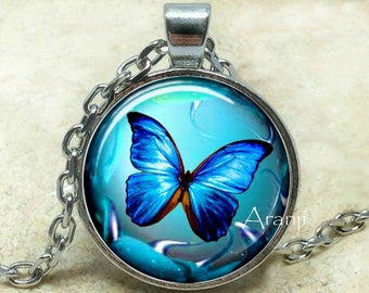 Iridescent blue butterfly necklace, butterfly necklace, butterfly pendant, butterfly jewelry, iridescent blue butterfly, Pendant #AN200P