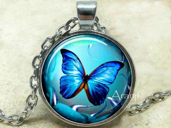 Blue Butterfly Jewelry: Iridescent Blue Butterfly Necklace Butterfly Necklace