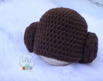 Princess Leia inspired hat - Crochet princess Leia hat - Ready to ship princess Leia hat - Crochet Wig Costume - baby wig hat - Photog prop