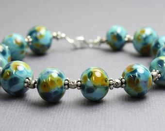 Aqua Blue Lampwork Bead Bracelet, Blue Beaded Bracelet, Glass Bracelet,Lampwork Bracelet,Gift for Her,Blue Bracelets,Kathy Bankston,Bracelet