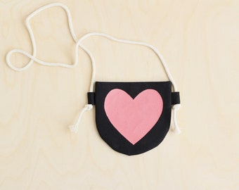 Monochromatic Pink Heart, Black and Pink, Toddler Purse, READY TO SHIP