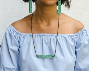 Minimalist Leather Jewellery - Necklace & Earrings - Sea Green