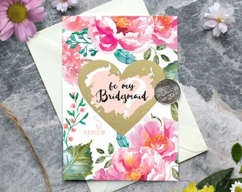 Scratch off Be My Bridesmaid Reveal Wedding Greeting Cards, Watercolour Peony