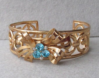 Retro 1940's Signed CORO Adolph Katz BOW & Aqua Rhinestone Open Work Vintage Cuff Bracelet