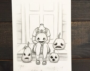 Original pencil and ink drawing, Drawlloween 2016 #12: Jack o lantern, Halloween art, creepy art, creepy cute, pumpkin