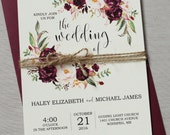 Marsala Wedding Invitation printable Suite, Burgundy Pink,  Bohemian Wedding Invite Set, Rustic Floral Wedding Invitation, Boho Chic wedding