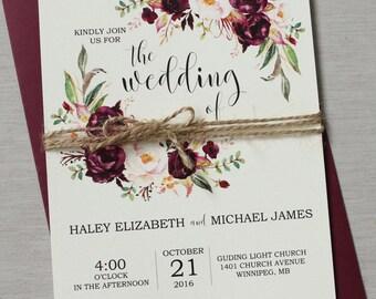 Marsala Wedding Invitation printable Suite, Burgundy Pink,  Bohemian Wedding Invite Set, Rustic Floral Wedding Invitation, Boho Chic wedding
