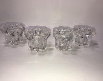 Reims Glass France 4 Clear Votive Candlestick Candle Holders Vintage Decor