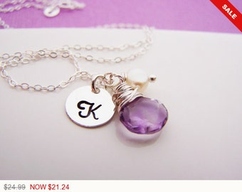 Sale -  Amethsyt Briolette Personalized Initial Wire Wrapped Freshwater Pearl Sterling Silver Bridesmaid Necklace / Gift for Her