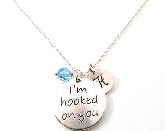 I'm Hooked On You - Silver- Swarovski Birthstone - Personalized Initial Necklace - Sterling Silver Jewelry - Gift for Her