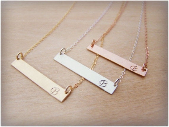 Bar Necklace - Hand-stamped Initial Name Gold Filled, Rose Gold Filled or Sterling Silver Bar Minimalist Necklace / Gift for Her