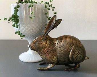vintage brass rabbit figurine bunny