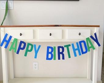 Felt Birthday Banner, Boy Colors, Blue, Green, Teal, Felt, Reusable, Eco-friendly