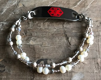 Pearl & Crystal Medical Bracelet - Includes FREE Medical ID tag with Engraving