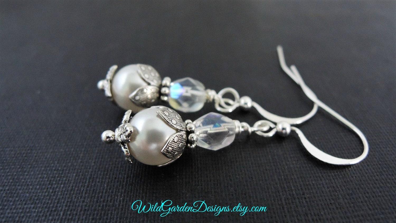 small pearl and earrings dainty pearl earrings white