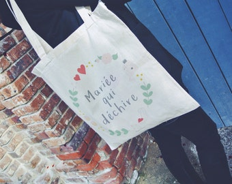 """Tote bag """"Bride who tears"""" special bachelorette party girl - gift wedding - bride - bridesmaid"""