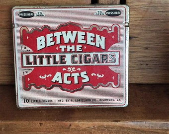 Vintage Between The Acts Little Cigars Tin Container