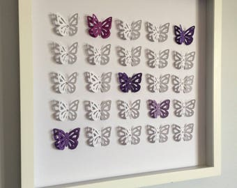 Butterfly, 3D Paper Art - perfect for a new baby or little girl's room, customize your color- purple, pink, yellow, red, blue, green, gray