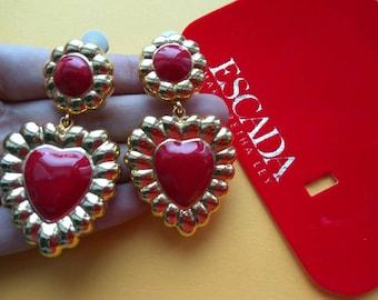 Vintage Escada Clip on earrings Res heard