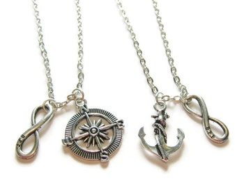 2 Compass And Anchor Infinity BFF Best Friends Necklaces, Compass Necklace, Sisters Necklaces, Couples Necklaces, Two Best Friends Necklaces
