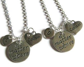 2 Cousins Necklaces, No Matter Where Necklaces, Cousins No Matter Where Necklaces, Necklaces For Cousins, Cousins Necklaces, Personalized