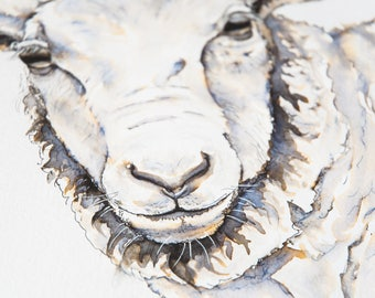 Kind Hearted Sheep - ONE original Drawing - Farm Animal Portrait - Springtime Sheep Time